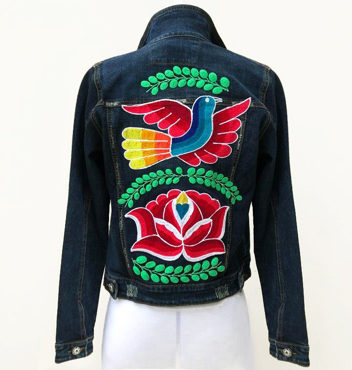 Embroidered denim jacket, with birds and flowers, Size S