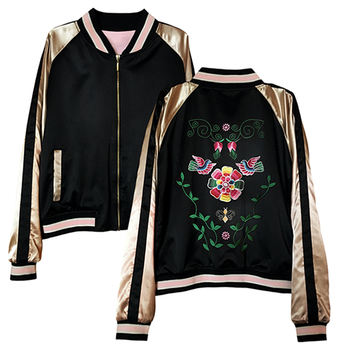 Embroidery Bomber Jacket, Size M