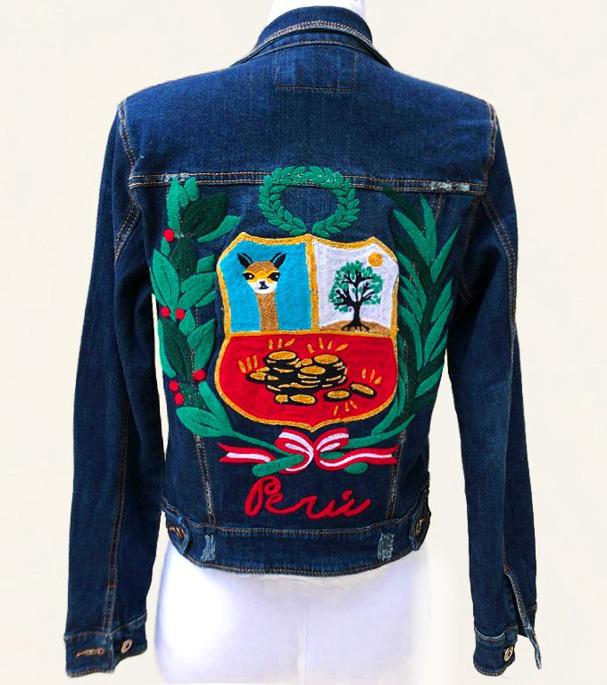 Embroidered denim jacket, with Peruvian shield, Size  M