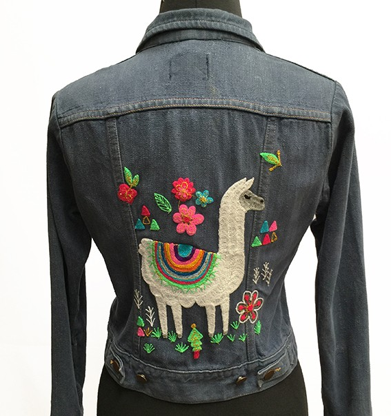 Embroidered jean jacket, Llama Style - Size 12