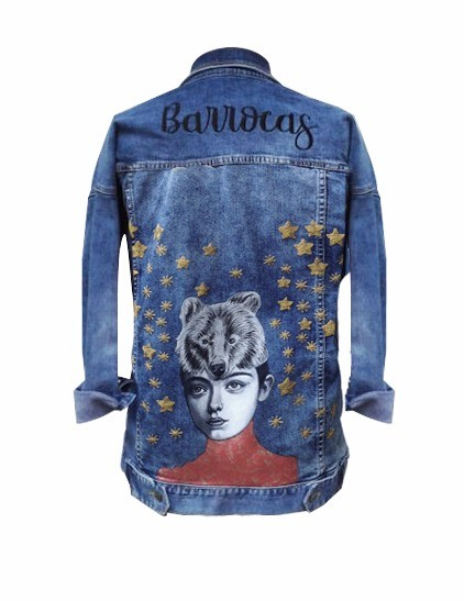 Embroidered and painted denim jacket, Size M