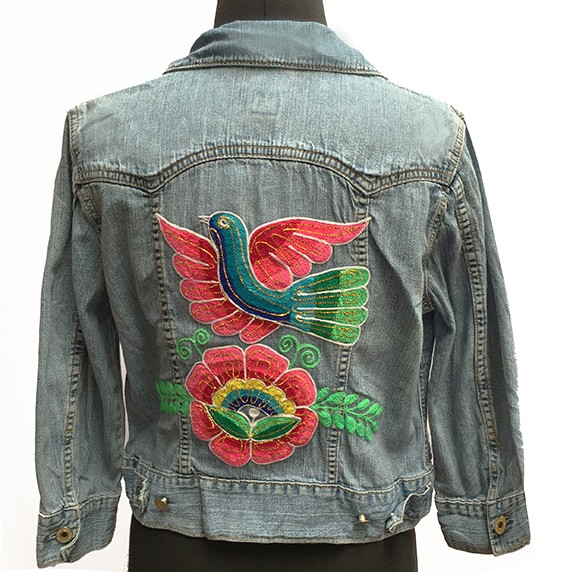 Embroidered jean jacket, Flower and bird - Size S