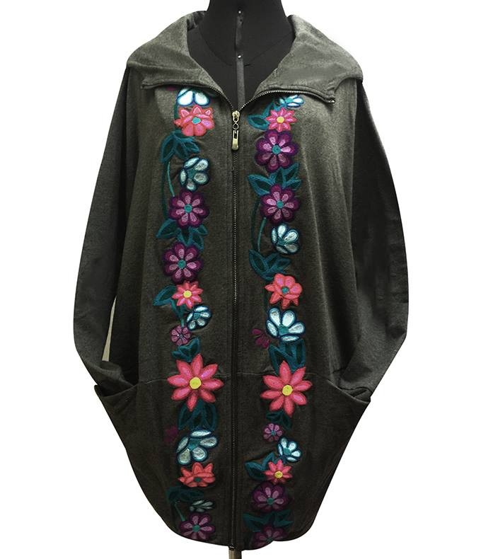 Embroidered cotton jacket, flowers - Size M