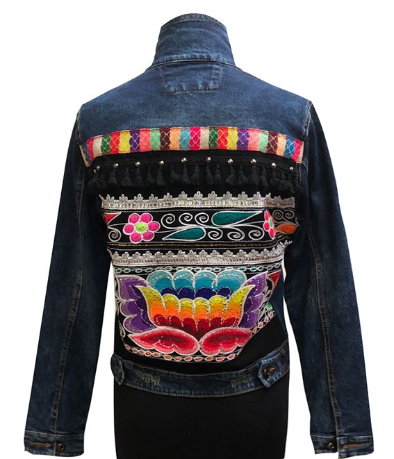 Embroidered denim jacket, with traditional embroidery aplication, Size M