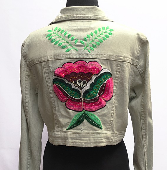 Embroidered jean jacket, Flower - Size L
