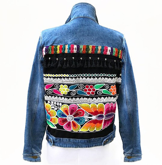 Embroidered denim jacket,  with traditional embroidery application, Size L